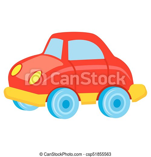 Red Toy Car With Blue Wheels Vector Illustration Red Toy Car With