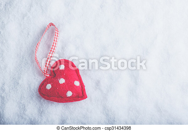 Red Toy Suave Heart On A Frosty White Snow Background Love And St