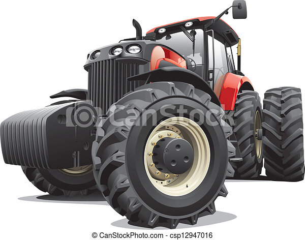 red tractor with large wheels - csp12947016