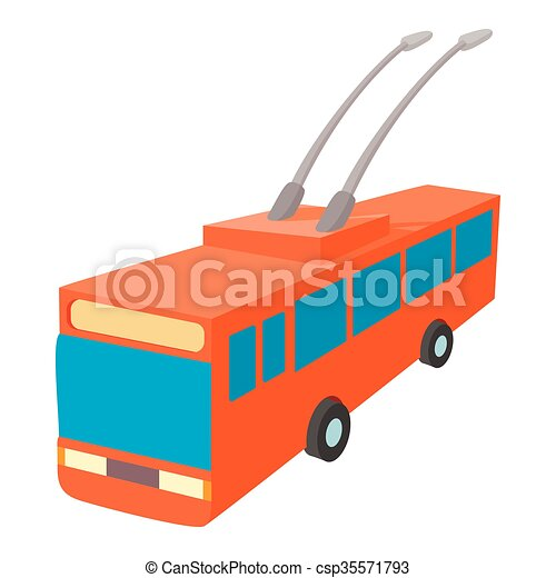 Red trolleybus icon, cartoon style - csp35571793