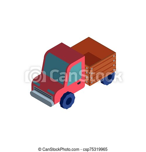red truck on white background - csp75319965