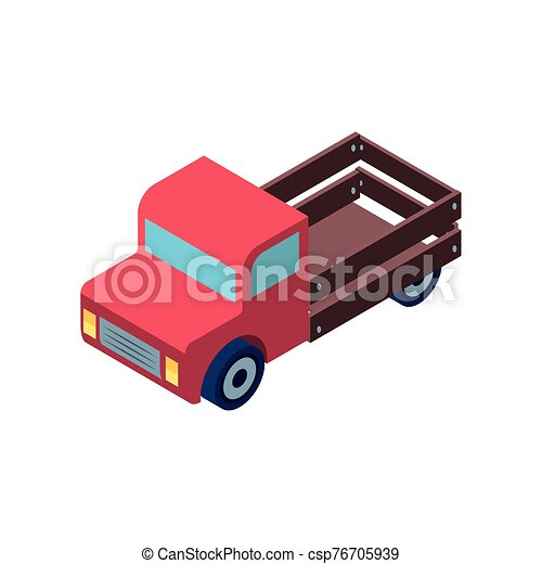red truck on white background - csp76705939