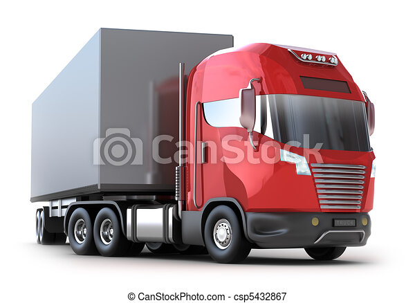 Red Truck with container, isolated - csp5432867