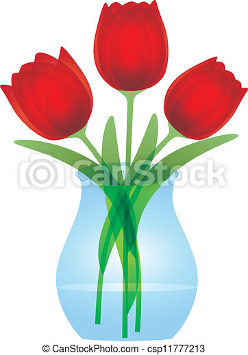 Red Tulips In Glass Vase Illustration Red Tulips Bouquet Flowers In