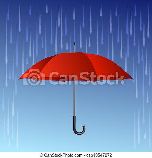 Red umbrella and rain drops - csp13547272