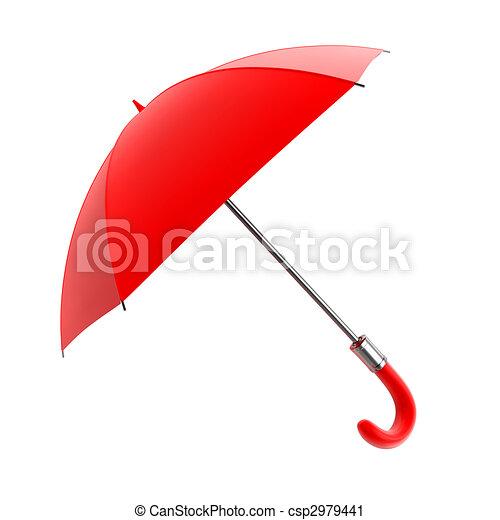 red umbrella for rain weather - csp2979441