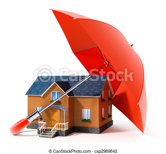 red umbrella protecting house from rain - csp2969642