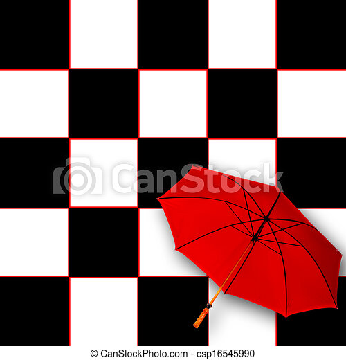 Red Umbrella With Black And White Red Umbrella On Black And White