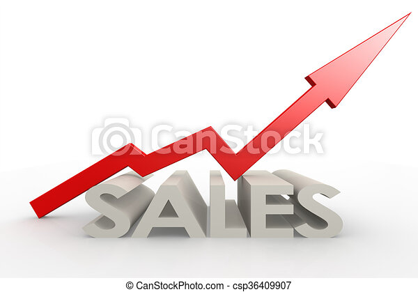Red upward arrow with sales word - csp36409907