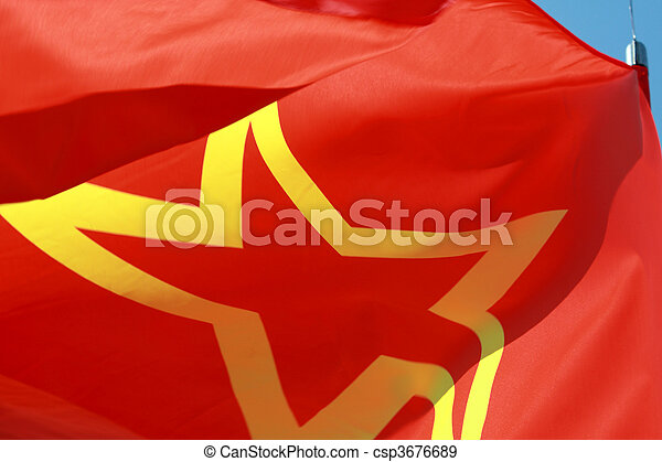 red ussr flag close-up. red ussr flag with yellow star in stock