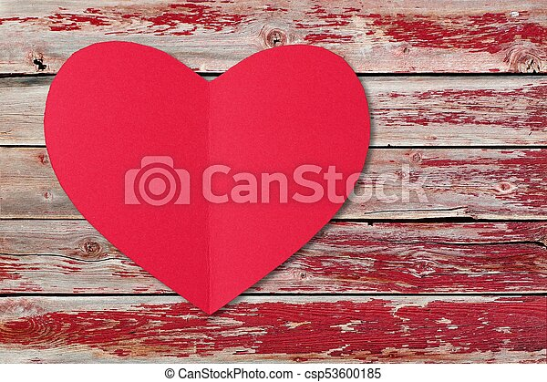 Red Valentines Day Paper Heart Over A Rustic Wood Background With Paint