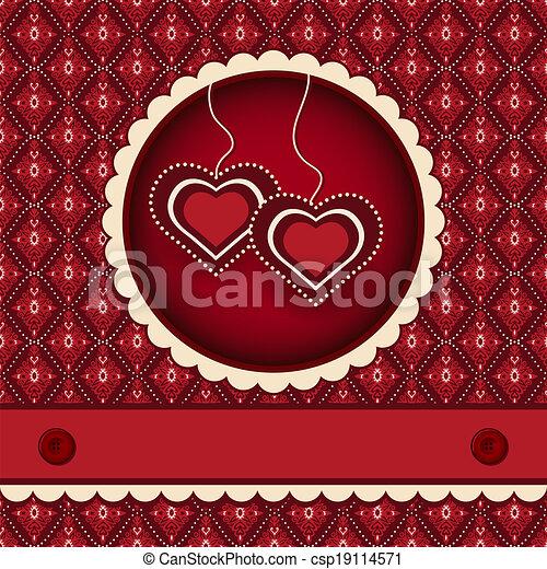 Red valentines scrapbook heart background - csp19114571