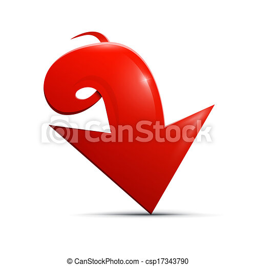 Red vector arrow on white background  - csp17343790