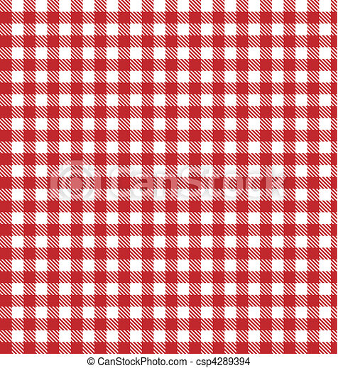 Red vector checkered picnic cloth - csp4289394