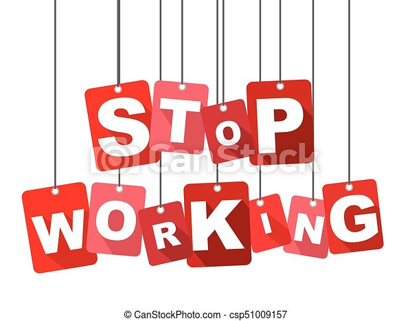 Red Vector Flat Design Background Stop Working It Is Well Adapted For Web