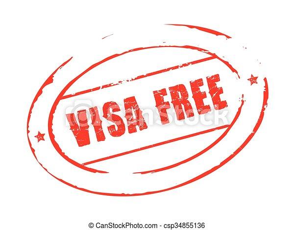 Red vector grunge stamp VISA FREE - csp34855136