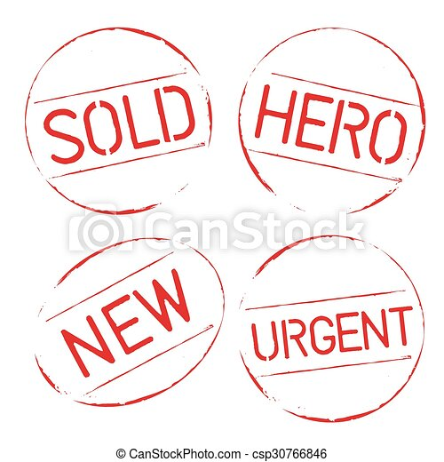 Red vector grunge stamps SOLD, HERO, URGENT, NEW - csp30766846