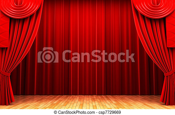 Red velvet curtain opening scene - csp7729669