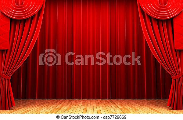 Red velvet curtain opening scene - csp7729669
