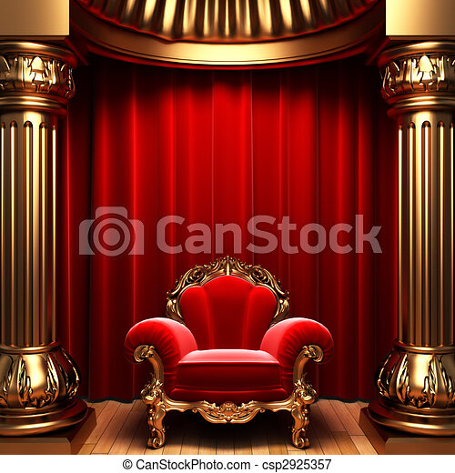 red velvet curtains, gold columns and chair  - csp2925357