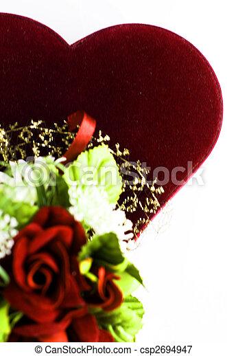 Red velvet heart with roses - csp2694947