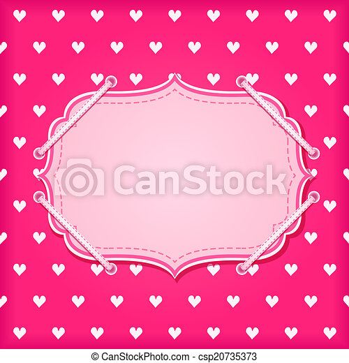 Red Vintage Card with White Hearts - csp20735373