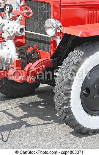Red vintage fire truck - csp4803071
