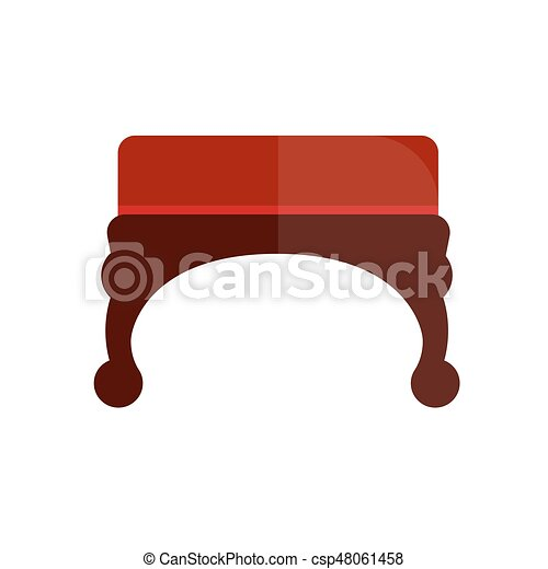 Remarkable Red Vintage Ottoman With Wooden Curved Legs Illustration Machost Co Dining Chair Design Ideas Machostcouk