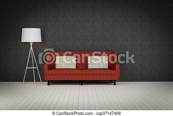 red vintage sofa on the room 3d rendering - csp37147409