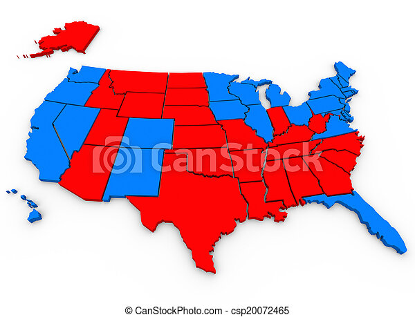 Red Vs Blue United States America Map Presidential Election 3d
