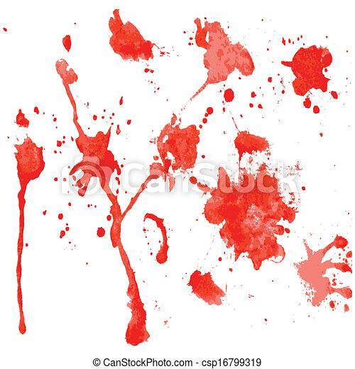 red watercolor blots on a white background - csp16799319