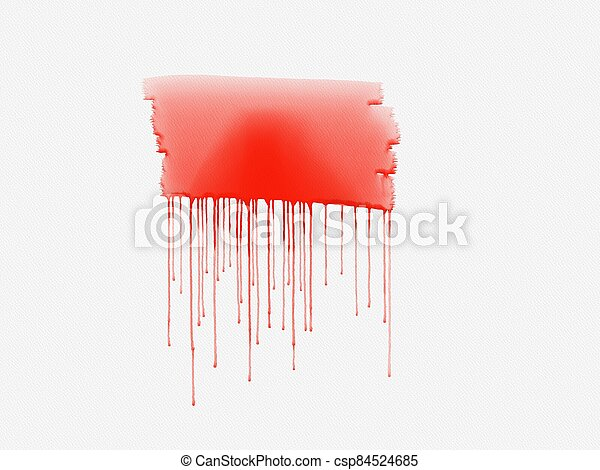 Red watercolor paint on a white background - csp84524685