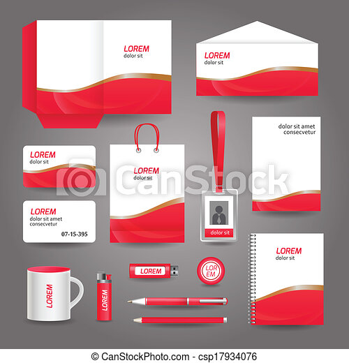 Red wavy abstract business stationery template for corporate red wavy abstract business stationery template csp17934076 friedricerecipe Choice Image