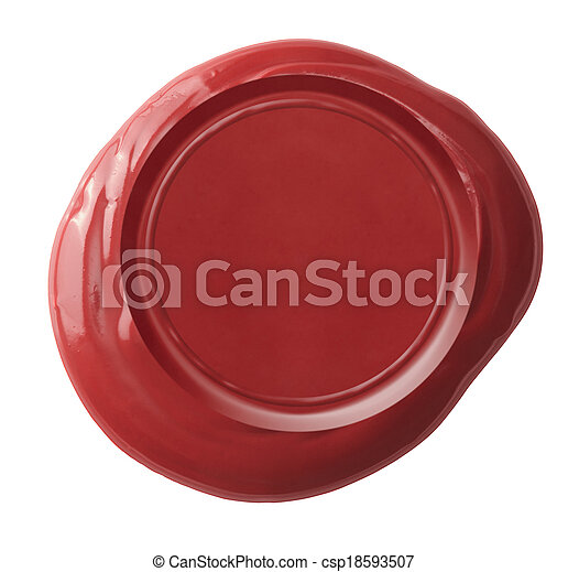 Red wax seal isolated on white included - csp18593507