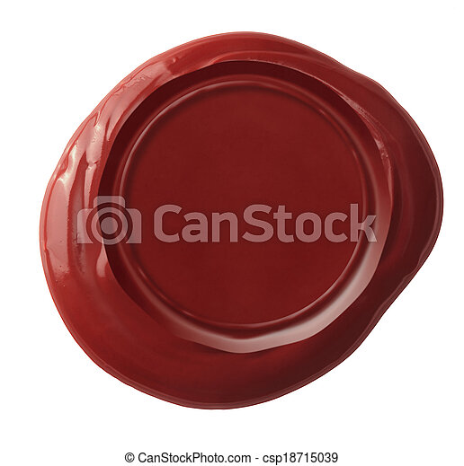 Red wax seal isolated on white included - csp18715039