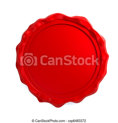 Red wax seal over white background - csp6483372