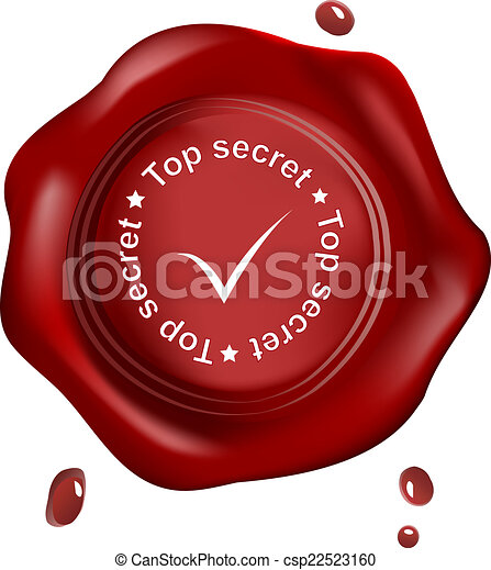 Red wax seal top secret - csp22523160