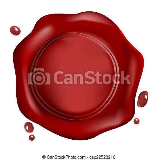 Red wax seal, vector - csp22523216