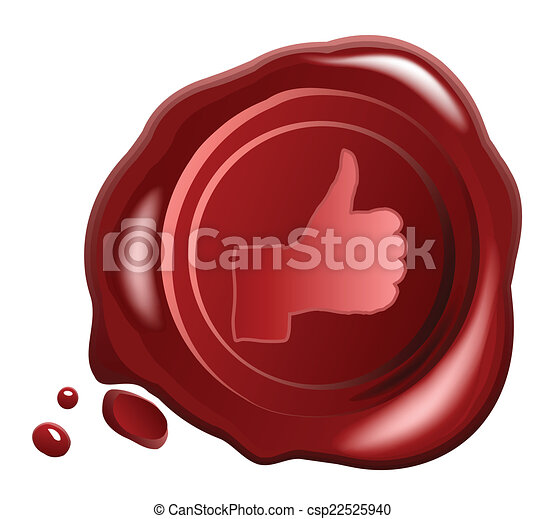 Red wax seal vector with Hand OK sign - csp22525940