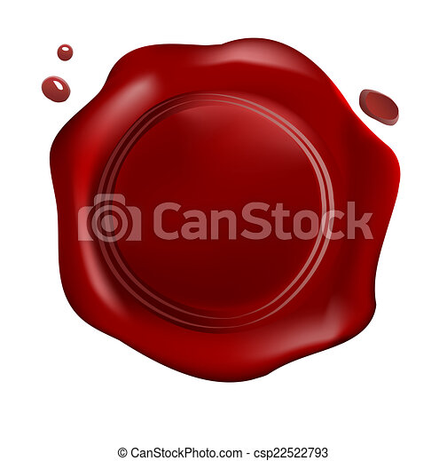 Red wax seal with small drops - csp22522793