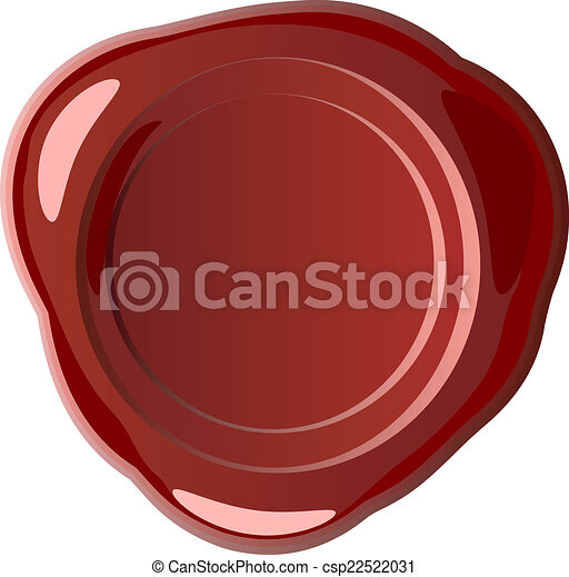 Red wax seal with small drops - csp22522031