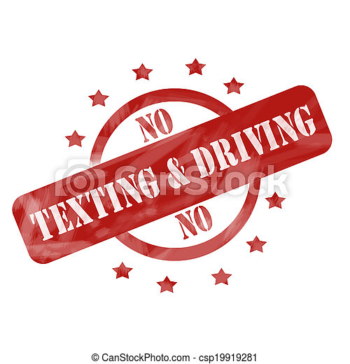 Red Weathered No Texting and Driving Stamp design - csp19919281