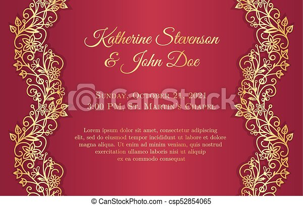 Red wedding invitation with golden floral borders on sides clip art