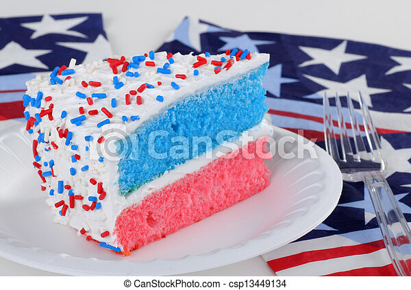 Outstanding Red White And Blue Cake Red White And Blue Layer Cake With Sprinkles Funny Birthday Cards Online Alyptdamsfinfo