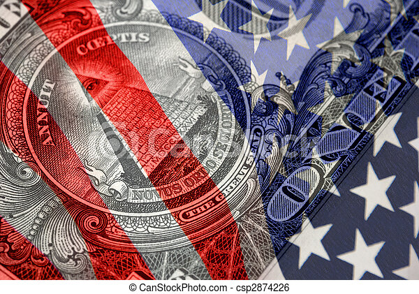Red, White, and Blue Financial Symbols - csp2874226