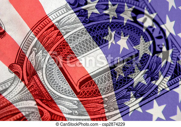 Red, White, and Blue Financial Symbols - csp2874229