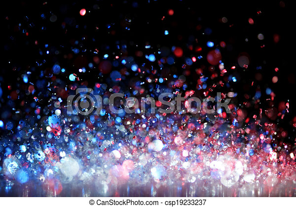 red white and blue glitter can stock photo