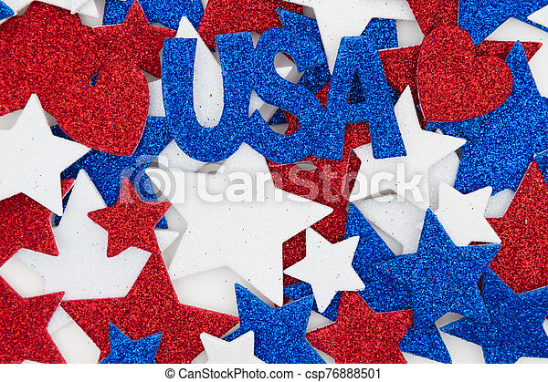 red white and blue glitter stars with usa background with copy space for your message can stock photo