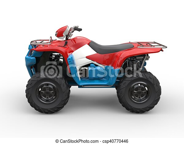 Red white and blue quad bike - csp40770446