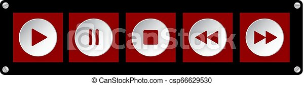 red, white music control buttons with screws - csp66629530